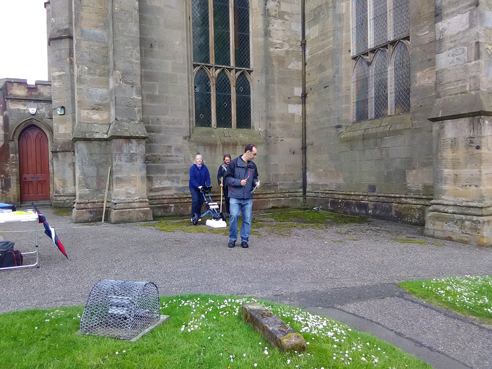 Erica Utsi, Oliver O'Grady and Michael Penman radar scanning the eastern exterior subsurface of the Abbey Church North Transept, atop the medieval Lady Chapel, 2017.