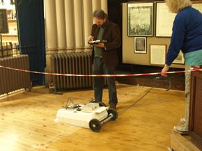 Erica Utsi and Oliver O'Grady radar scanning the north aisle of Dunfermline Abbey Church, 2016.
